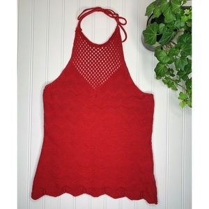 Red Knitted Halter Top